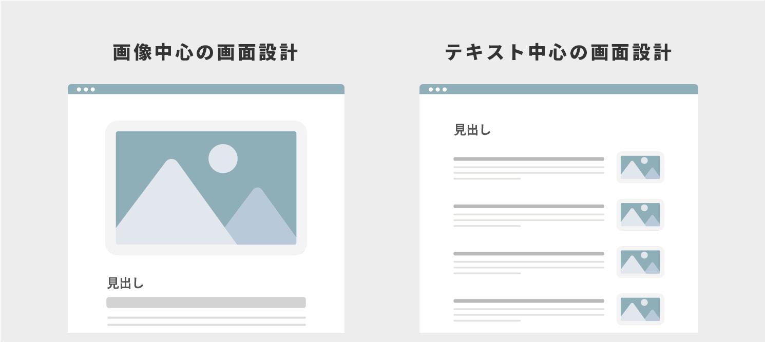 画面設計の差